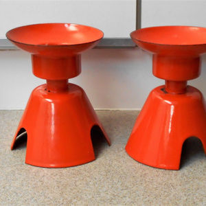 2 Vintage Orange Enamel Metal Candle Holders
